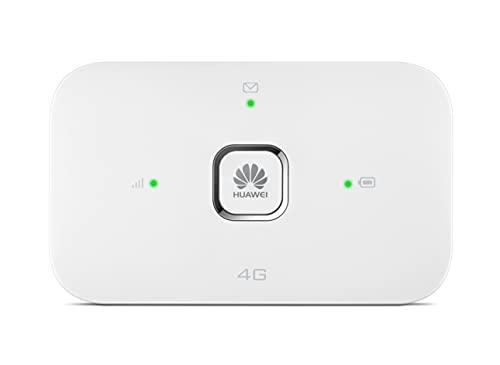 HUAWEI Mobile WiFi E5576 Mobiler WLAN-Router 4G LTE (CAT4), Download-Geschwindigkeit bis zu 150 Mbit/s, 1500 mAh Akku, Keine Konfiguration erforderlich, tragbares WLAN, Weiß