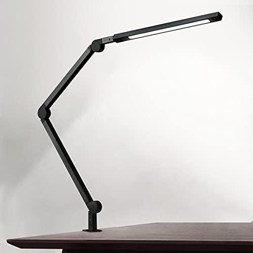 Eyocean LED Schreibtischlampe,Schwenkarm Architektenlampe Arbeitsleuchte,Berührungssteuerung Büro Tischlampe, Stufenloses Dimmen einstellbare Farbtemperaturen,Augenschutz, 10W Klemmleuchte,Mattschwarz