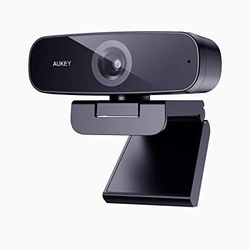 AUKEY 1080p Webcam mit 2 Stereomikrofonen und automatischer Farbkorrektur, PC und Laptop, USB-Webcam für Zoom-Meetings und Videoaufnahmen