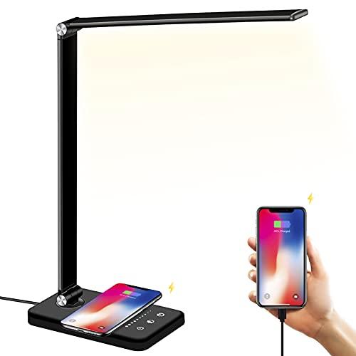Schreibtischlampe LED mit Wireless Charging, USB Ladeanschluss, BIENSER Smartphones Tischlampe mit 10 Helligkeits X 5 Farbstufen, Augenschonende LED Dimmbar, Sensible Kontrolle, 30/60 min Auto Timer