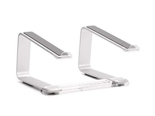 Griffin Elevator Aluminium-Ständer für Apple Macbooks & Notebooks & Laptops [Laptop Ständer aus gebürstetem Aluminium, Ergonomisches Arbeiten, Rutschfeste Gummifüße] silber / transparent