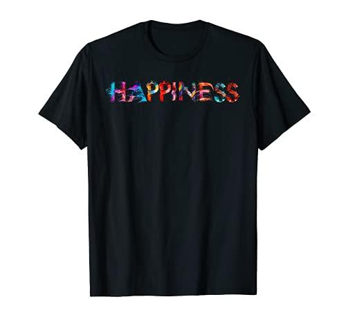 HAPPINESS Glück mit Schrift Kunst Kalligrafie Buchstabe T-Shirt