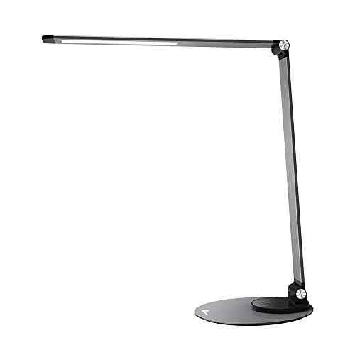 TaoTronics LED Schreibtischlampe Metall Tageslichtlampe mit 6 Helligkeits- und 3 Farbstufen, Ultradünn, augenschonende LED, Speicherfunktion, USB Ladeanschluss, Energieeffizient Silbergrau