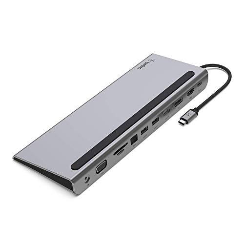 Belkin USB-C-Hub, 11-in-1-MultiPort-Adapter-Dock mit 4K-HDMI, DisplayPort, VGA, USB-C und 100 W zum Laden über das angeschlossene Gerät, 3x USB A, Gigabit-Ethernet, SD, MicroSD, 3,5-mm-Klinke