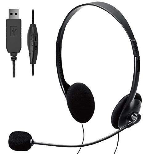 TINGDA USB Headset, PC Headset mit Mikrofon Noise Cancelling & Lautstärkeregler, Computer Chat Headset für Skype, Webinar, Homeoffice, Gaming, e-Learning und Musik, Call Control, Ultra Komfort