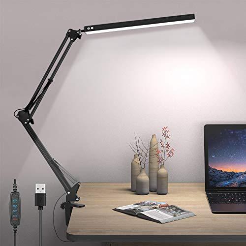 Liraip LED Schreibtischlampe, 10W Architektenlampe,Verstellbarem Arm Faltbar,5V/2A USB-Kabel,Stufenloses Dimmen,Augenschutz,3 Farbtemperaturen,Geeignet für Büro, Lesen,Studieren