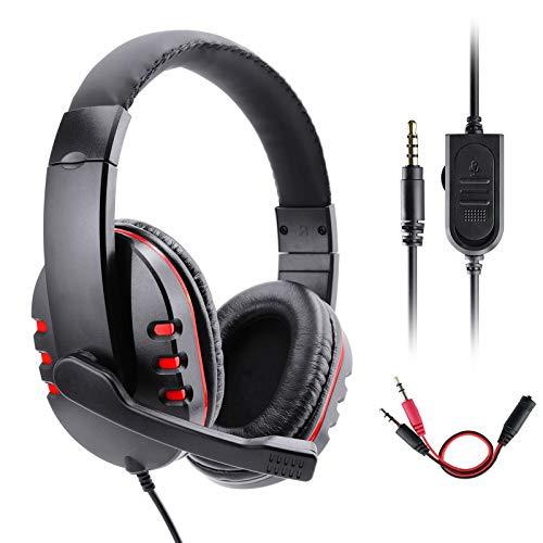 Gaming Kopfhörer für PS4 Xbox One, Gezimetie PS4 Headset mit Mikrofon,3.5mm Surround Sound Over-Ear-Kopfhörer für PS4 Xbox One PC Laptop Tablet Mobile Phones