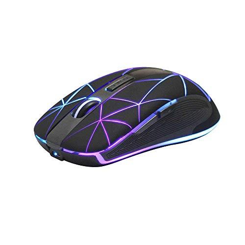 Rii Kabellose Maus, 2.4G Funkmaus PC Maus Laptop Maus Wireless Optische Maus mit USB Nano Empfänger, 7 LED Beleuchtete Maus für Windows/Mac/Linux, Office Home, Schwarz