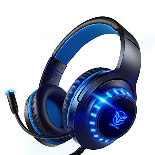 Pacrate PC Gaming Headset für PS4, PS5, Xbox One, PC, Rauschunterdrückung,Over-Ear, PS4 Headset mit LED Lichter, PS4 Gamer Kopfhörer mit Sensiblen Mikrofon & Intensiven Bässen für Laptop Mac