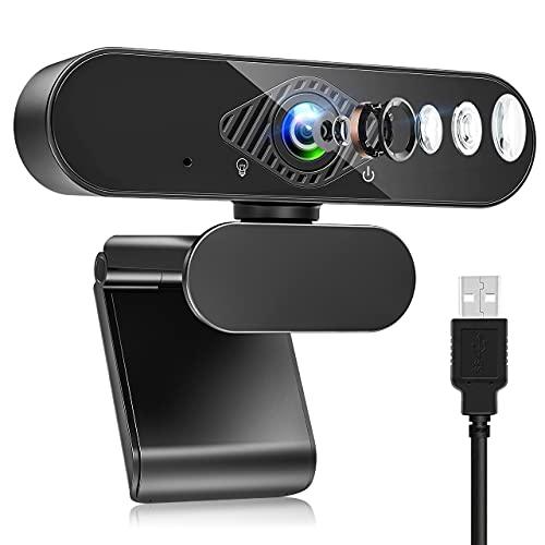Webcam mit Mikrofon, HD 1080P Web Kamera mit 120° Blickfeld, Belichtungskorrektur und Drehbarem Clip, USB 2.0 Plug & Play für Live-Streaming, Videoanruf, Konferenz, Kompatibel mit PC/Mac/Linux