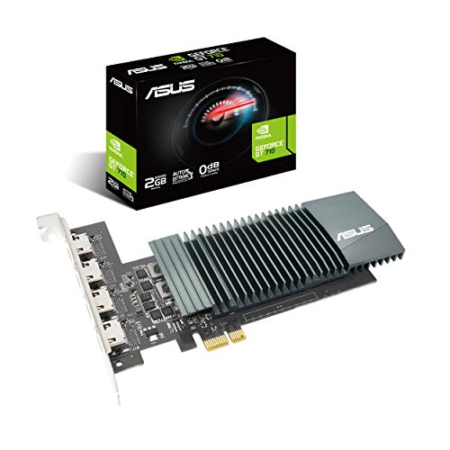 ASUS Nvidia GeForce GT710-H4-SL-2GD5 Grafikkarte (2GB DDR5 Speicher, 4x HDMI, Single Slot, GPU Tweak II)