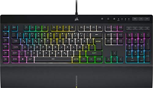 Corsair K55 RGB PRO XT Kabelgebundene Membran-Gaming-Tastatur (Dynamische RGB-Hintergrundbeleuchtung, 6 Makro-Tasten mit Elgato Software-Integration, IP42 Staub-und Spritzwasserschutz) QWERTY, Schwarz
