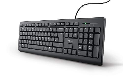 Trust 24092 Taro Kabelgebundene Tastatur - Deutsches QWERTZ Layout, Leise Tasten, Spritzwassergeschützt, USB-Anschluss, Ergonomisch, 1.8 m Kabellänge, PC/Laptop, Windows/macOS - Schwarz