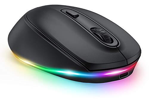 seenda Funkmaus Bluetooth, LED Kabellose Maus mit Beleuchtung, Leise Wiederaufladbare 3 Modi Funkmaus (BT3.0+BT5.0+2.4G), 2400 DPI Kompatibel mit Laptop/PC/Mac/Android/Tablet(Schwarz)