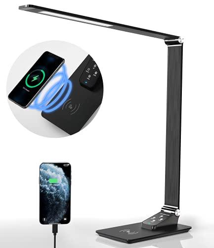 LED Schreibtischlampe Metall Tageslichtlampe mit 10W kabelloses Ladegerät Energieeffizient schwarz, augenschonende LED, USB Ladeanschluss Memory-Funktion Touch Control ,5 Farbstufen und 5 Helligkeits