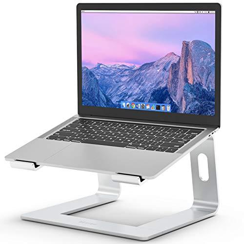 Besign LS03 Laptop ständer aus Aluminium, ergonomischer Notebook-Ständer, Laptop ständer kompatibel mit Air, pro, Dell, HP, Lenovo und Anderen 10-15,6' Laptops (Silber)