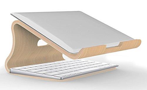 SAMDI Holz Laptop Ständer/Universelle Laptop Halter Elegante Holz Notebookständer PC Halterung Kühlung Cooling Stand Haltewinkel Sockel für MacBook Air/Pro Retina (Weiße Birke)