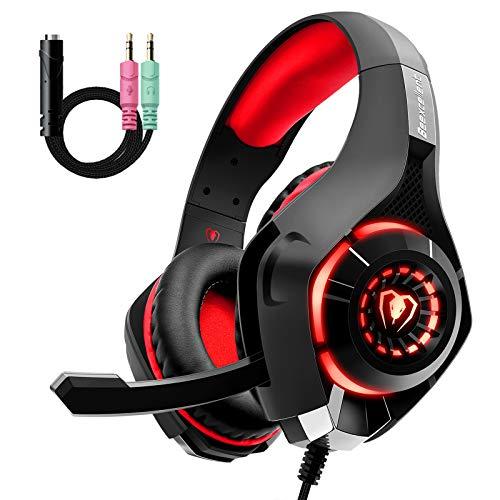Gaming Headset für PS4 PS5 PC Xbox One, LED Licht Crystal Clarity Sound Professional Kopfhörer mit Mikrofon für Laptop Mac Tablet Nintendo Switch