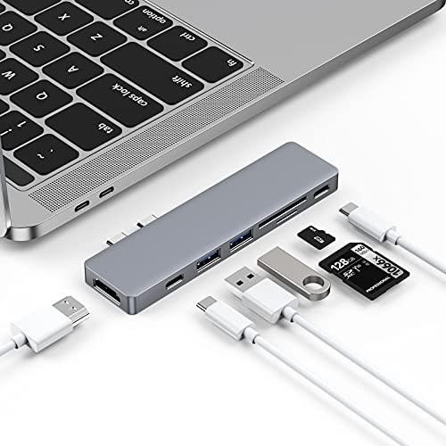 Byttron USB C Hub, Thunderbolt 3 Dock, Typ C Hub mit 4K HDMI, TF/SD Kartenleser, Typ C Buchse, 2 USB 3.0 s, Typ C Hub Adapter Dongle für MacBook Pro 2016/2017/2018 und Air 2018
