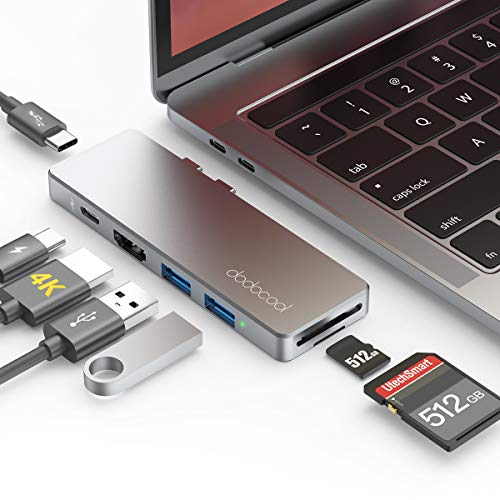 dodocool USB C Hub, Aluminium Typ C Hub Adapter, HDMI 4K, 2 USB 3.0, SD/TF Kartenleser, 40Gbps Thunderbolt 3, 100W PD, USB C Dock für MacBook Pro 2019/2018/2017/2016, MacBook Air 2019/2018, Spacegrau