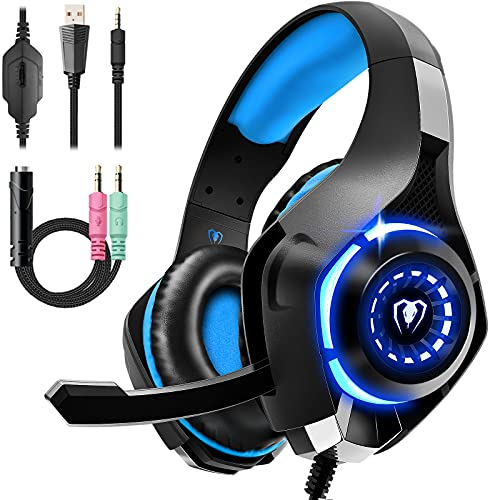 Gaming Headset für PS4 PS5 PC Xbox Series, 3.5 mm Deep Bass Stereo Surround Sound PS4 Headset mit Noise Cancelling Mikrofon für Laptops, Tablets, Mac